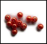 Perles nacrées orange feu 8 mm, lot de 14 perles.