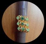 Bague réglable dorée strass verts  BAG032
