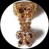 Bracelet bague papillon strass marron, métal doré BRA012
