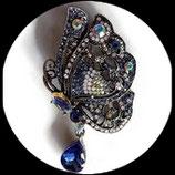 Broche papillon strass bleus, broche bijou fantaisie strass  BRO059