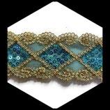 Galon or, turquoise à sequins 5.5 cm vendu au mètre GAL003