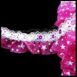 Volant dentelle blanche, organza rose royal à étoiles,  sequins roses 3 cm DEN080