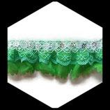 Volant dentelle, tissu polyester vert et blanc avec sequins fleurs 4 cm DEN058