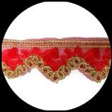 Galon organza rouge et or à sequins 6 cm vendu au mètre GAL010