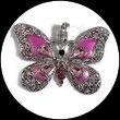 Pendentif papillon rose émail et strass PEN001