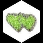 Applique coeur double fleurs organza vert vif, sequins et galon APP069