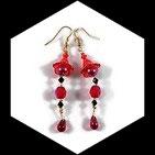 Boucles pendants oreilles perles couleur rouge et noir faites main