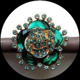 Grosse bague élastique 3D strass camaïeu de vert turquoise métal doré BAG108