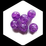 Perle en verre ronde givrée 12 mm violet X 2 perles Réf : 368