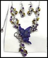 Parure papillon violet collier et boucles d'oreilles argentés, strass  PAR020
