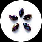 Strass navette irisé multicolore 15 x 7 mm à coller X 10. STR041