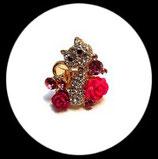 Bague réglable dorée chat strass et roses roses BAG046