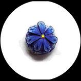 Bouton pression snap  fimo et strass fleur bleue 19 mm Réf 1468