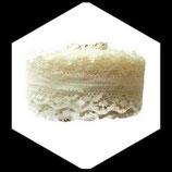 Dentelle polyester ivoire  3 cm X  5 m  DEN046