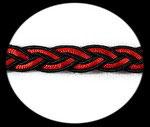 Galon tresse ruban satin noir et rouge 1 cm GAL096