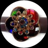 Grosse bague élastique 3D strass multicolores métal doré BAG154