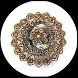 Grosse bague élastique 3D strass naturels métal doré BAG095