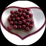 lot de 25 perles de verre  nacrées rouge 8 mm création bijoux Réf : 1556