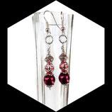 boucles oreilles percées perles rouge et argent artisanales