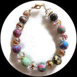 Bracelet enfant perles fimo multicolores et perles craquelées fait main