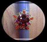 Bague réglable fleur strass rouges BAG034