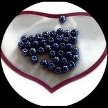 lot de 37 perles de verre  nacrées bleu 6 mm création bijoux Réf : 1558