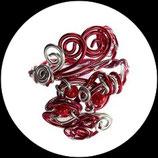 Manchette fait main, bracelet en fil aluminium rouge et argent, perles rouges