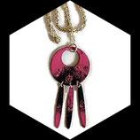 collier pendentif émail rose, noir, argent double face fait main