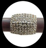 Bague fantaisie réglable strass rectangle, support métal argenté BAG097