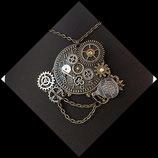 pendentif collier style steampunk engrenages montre mongolfière clé métal, bijou artisanal