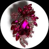 Broche métal argenté, strass roses deux nuances BRO081