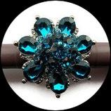 Grosse bague élastique fleur 3D strass couleur turquoise métal argenté BAG122