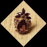 Bague réglable dorée strass couleur prune et violet BAG017