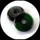 Perle en verre palet rond  émeraude 30 mm Réf : 1379