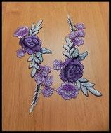 Appliques ou faux col à coudre brodé fleurs violettes et mauves FCO017