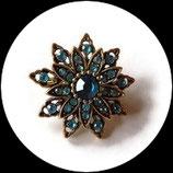 Broche fleur vieil or à strass couleur turquoise BRO68