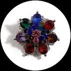 Grosse bague élastique fleur 3D strass multicolores métal argenté BAG170