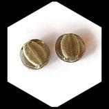 Perle palet rond verre feuille argent 16 mm gris,lot de 2 palets : Réf : 1070