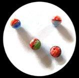 Perles verre mêlé 10 mm. Lot de 4 perles. PER256
