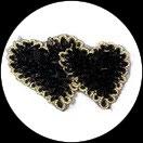 Applique coeur double fleurs organza noir, sequins et galon APP075