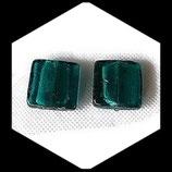 Perles de verre  palet carré à feuille d'argent  20 X 20 mm vert d'eau Réf : 1363