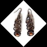 boucles oreilles aluminium marron perles bois
