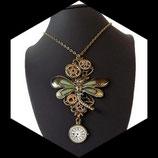 pendentif steampunk libellule montre engrenage collier artisanal fait main