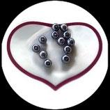 12 perles nacrées gris 8 mm création bijoux Réf : 1518