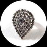 Bague fantaisie réglable coeuri strass, support métal argenté BAG178