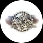 Bague fantaisie réglable strass ronde, support métal argenté BAG172