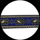 Galon tissé brillant or et bleu royal 3.5 cm vendu au mètre GAL061