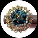 Grosse bague élastique 3D strass turquoises métal doré BAG078