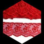Dentelle brodée fleurs organza rouge 4 cm DEN096