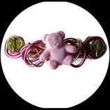 Barrette enfant ours rose aluminium perles fait main